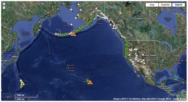 Track Active volcano sites